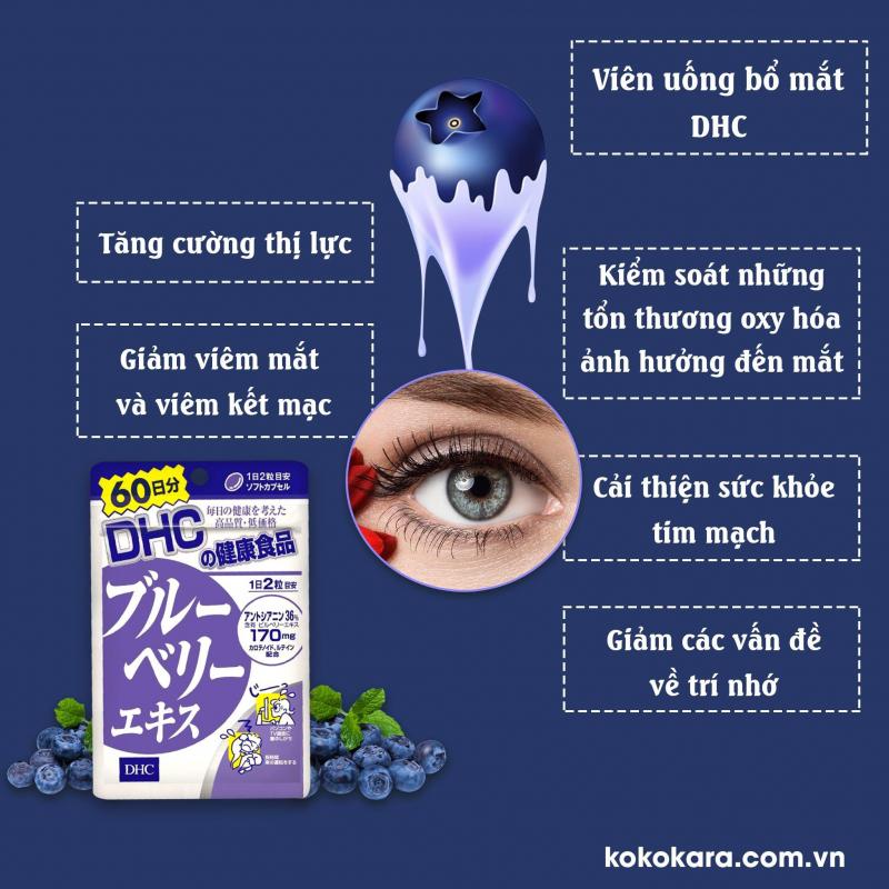 Viên Uống Bổ Mắt Việt Quất DHC Blueberry Extract Cải Thiện Thị Lực