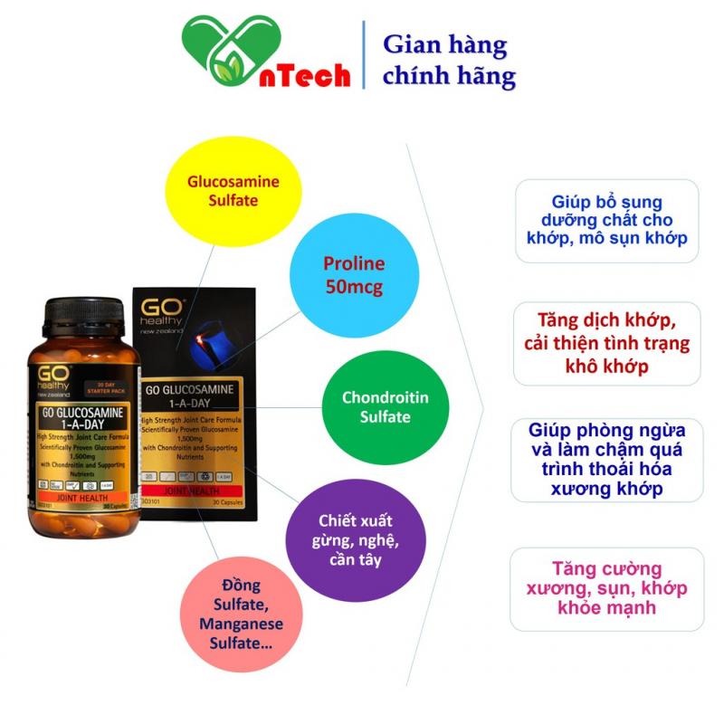 Viên uống bổ xương khớp GO Glucosamine 1 A Day 1500mg