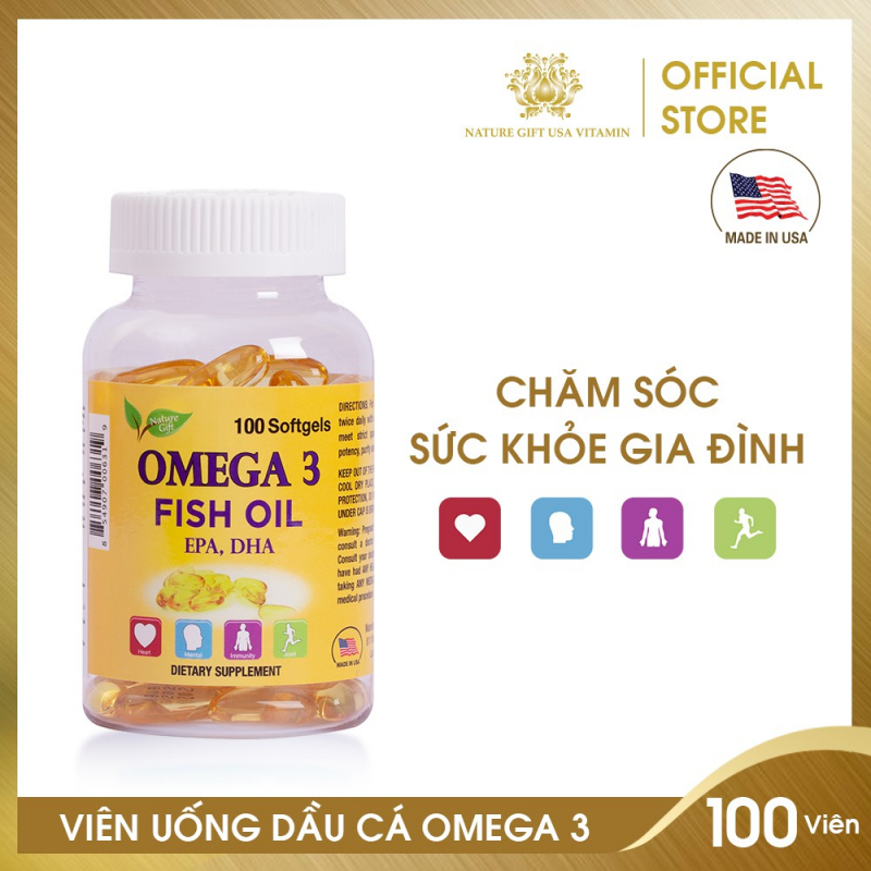 Viên Uống Dầu Cá Omega 3 Bổ Sung EPA & DHA, Tốt Cho Tim Mạch, Bổ Mắt và Bổ Não - Nature Gift USA
