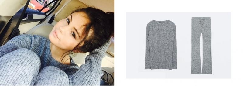 Selena Gomez khiến nhiều fan trầm trồ khi mix đồ theo phong cách len-chồng-len thời thượng. Set đồ của Zara này có giá 59,99$ (~ 1,3 triệu VNĐ) cho mỗi item