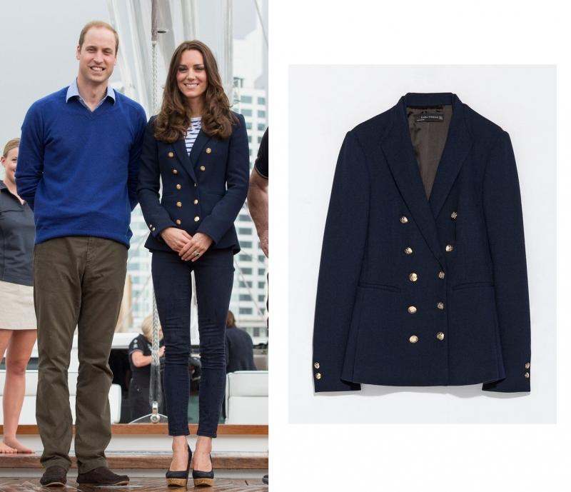 Công nương Kate Middleton đã mặc chiếc blazer hai hàng khuy của Zara trong chuyến thăm New Zealand cùng gia đình hoàng gia. Chiếc áo có giá 80 Bảng Anh (~ 2,6 triệu VNĐ)