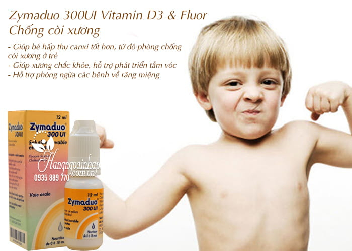Zymaduo 300UI Vitamin D3 & Fluor 12ml - Chống còi xương